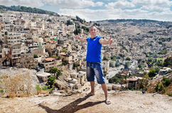Arquitetura da cidade. Homem. Jerusalém da cidade. Israel. O Oriente Próximo Fotografia de Stock
