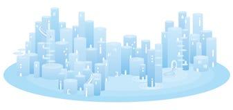 arquitetura da cidade Luz-azul Fotos de Stock Royalty Free
