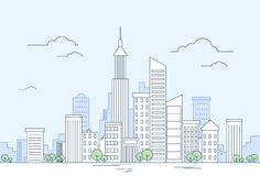 Arquitetura da cidade moderna do arranha-céus da opinião da megalópole da cidade Imagem de Stock
