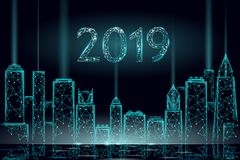 Arquitetura da cidade moderna do Natal do feriado do arranha-céus Linha poligonal nova do ponto do ano 3D escura - cartão azul da ilustração do vetor