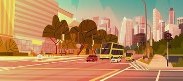 Arquitetura da cidade moderna Singapura da opinião da estrada das construções do arranha-céus da rua da cidade do centro ilustração do vetor