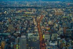 Arquitetura da cidade no tempo crepuscular, japão de Nagoya Imagens de Stock