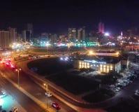 Arquitetura da cidade da noite do parque do bulevar imagens de stock royalty free