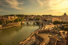 Arquitetura da cidade panorâmico de Roma Italy Foto de Stock