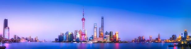 Arquitetura da cidade da skyline de Shanghai Fotografia de Stock Royalty Free