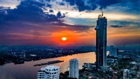 Arquitetura da cidade Tailândia de Chao Praya River Bangkok Imagem de Stock