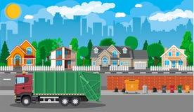Arquitetura da cidade urbana com carro do lixo ilustração royalty free