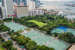Arquitetura da cidade Victoria Park Causeway Bay Hong Kong fotografia de stock royalty free
