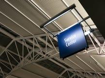 Arquitetura da construção pública do marcador do sinal do centro de serviço ao cliente Imagem de Stock