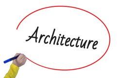 Arquitetura da escrita da mão da mulher com marcador Imagem de Stock Royalty Free