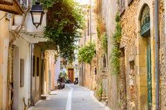 Arquitetura da estância turística Rethymno, Creta de Grécia Fotografia de Stock Royalty Free