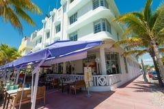 Arquitetura de Art Deco na movimentação do oceano na praia sul, Miami Fotos de Stock