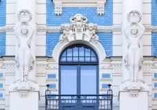 Arquitetura de Art Nouveau em Riga, Letónia Fotos de Stock Royalty Free