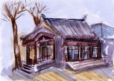 Arquitetura de China da aquarela Ilustração Stock