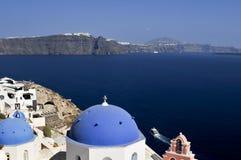Arquitetura de Cycladic em Fira, Santorini, Grécia Foto de Stock