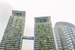 Arquitetura de Eco Construção verde do arranha-céus com as plantas que crescem na fachada Ecologia e vida verde na cidade, ambien Foto de Stock