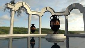 Arquitetura de grego clássico em uma lagoa Imagens de Stock Royalty Free