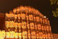 Arquitetura de Rajasthani do palácio de Hawa Mahal, Jaipur foto de stock