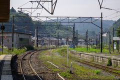 Arquitetura de um estação de caminhos de ferro rural imagem de stock royalty free