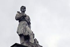 Arquitetura do parque de VDNKH em Moscou Figura do homem Foto de Stock Royalty Free