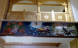 Arquitetura do templo e pinturas de parede interiores Imagem de Stock