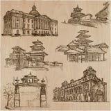 Arquitetura em todo o mundo - um bloco tirado mão do vetor, colle Fotografia de Stock Royalty Free