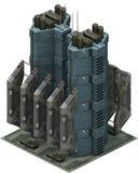 Arquitetura futurista isométrica da ficção científica, estação da carga rendição 3d Fotografia de Stock Royalty Free