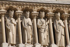 Arquitetura gótico em Notre Dame Paris Imagens de Stock Royalty Free
