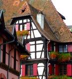 Arquitetura half-timbered tradicional em Alsácia Fotografia de Stock