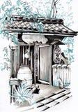 Arquitetura japonesa Esboço urbano foto de stock royalty free