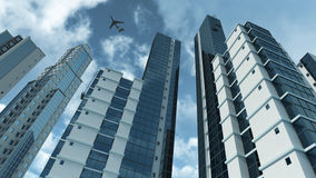 Arquitetura moderna com rendição reflexiva do vidro 3D Fotos de Stock