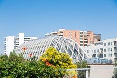 Arquitetura moderna e clássica além do jardim Foto de Stock Royalty Free