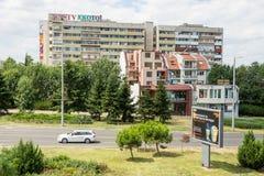 Arquitetura moderna e soviética em Burgas em Bulgária foto de stock royalty free