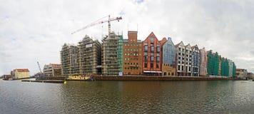 Arquitetura moderna na cidade velha em Gdansk, ilha do celeiro imagens de stock royalty free