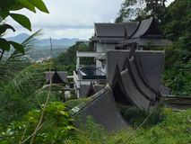 Arquitetura tailandesa tradicional com seus telhados originais, Tailândia Imagens de Stock