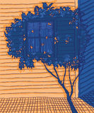 Arquitetura tirada mão com iluminação do contraste Fotos de Stock Royalty Free