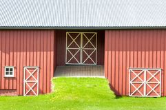 Arquitetura tradicional de madeira em Noruega o 21 de maio de 2014 em Gardermoen, Noruega Imagens de Stock