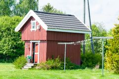 Arquitetura tradicional de madeira em Noruega o 21 de maio de 2014 em Gardermoen, Noruega Imagens de Stock Royalty Free