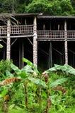 Arquitetura tribal do longhouse de Bornéu sarawak Imagens de Stock Royalty Free