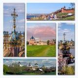 Arquitetura velha do russo da colagem Fotografia de Stock Royalty Free