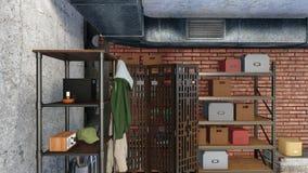 Arquivar no interior moderno do apartamento do sótão Imagem de Stock