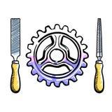 Arquive ferramentas da mão com o punho de madeira em torno da roda de engrenagem ilustração stock