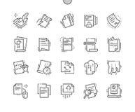 Arquive a linha fina grade 2x dos ícones 30 do vetor perfeito bem feito do pixel para gráficos e Apps da Web Imagem de Stock