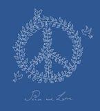 Arquivo azul do fundo EPS10 do símbolo da pomba da paz do estilo do esboço. Foto de Stock