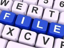 Arquivo de dados dos arquivos ou da mostra das chaves do arquivo Imagens de Stock Royalty Free
