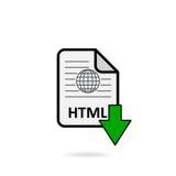 Arquivo de HTML com o botão verde da transferência da seta Fotografia de Stock