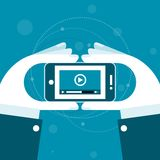 Arquivo de vídeo de observação no smartphone Imagem de Stock