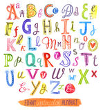 Arquivo do alfabeto da pintura da aquarela, um grupo de letras Imagem de Stock