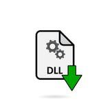 Arquivo do DLL com o botão verde da transferência da seta Imagens de Stock
