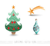 Arquivo do grupo de elementos EPS10 da árvore da quinquilharia do estilo do esboço do Feliz Natal Fotografia de Stock